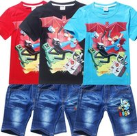 Wholesale Children Boys Outfits Minecraf Creeper Summer Short Sleeve Tshirts Cowboy Jeans Set Kids Suits Leisure Clothing Clothes J3004