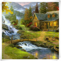 Wholesale Hot Sale New D DIY Diamond Painting High mountain water bridge Home decor Mosaic Embroidery Cross Stitch resin craft Scroll Painting