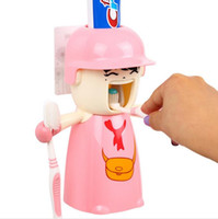 Wholesale Creative Harley Girl Hanging Toothbrush Holders Strong Wall Magnetic Suction Cup Toothpaste Toothbrush Holder Bathroom Set MC