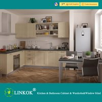 Wholesale Linkok Furniture China factory price high quality Contemporary Simple design cream color PVC Membrane Wood Kitchen Cabinet