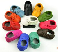 Wholesale Hot Sell Baby kids genuine leather Slip On shoes Boys Girls tassel moccasins soft leather baby first walker shoes
