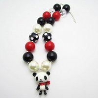 animal beads wholesale - 2015 New Hot Lovely Panda Pendant Necklace Acrylic Bubblegum Beads Chunky Necklaces Animal Pendants Girls Kids Child Jewelry