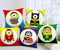 Wholesale Cute cartoon minions Superhero Captain America Superman Batman Green Lantern Iron Man Avengers throw pillow cushion cover Pillow Case