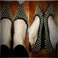 basic canvas shoes - genuine leather spring women basic rivets flats fashion women s pointed toe slip on brand designer shoes black size