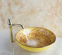 Wholesale 40279830 Yellow Rose Painting Round Bathroom Art Washbasin Tempered Glass Vessel Sink With Brass Polished Golden Faucet Set