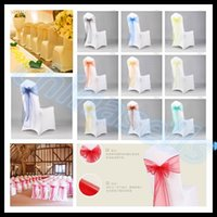 Wholesale wedding party hotel chair back flower bow satin chair back yarn decorative ribbon flower chair covers Sashes