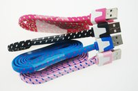 Wholesale Colorful USB cable Cloth Cord Woven Cable Flat fabric Braided Micro USB Charger Cable m data line for smarphones