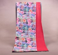 Wholesale 5ps Fashion New Double side Rose Print wool scarf warm shawl Wraps Size190x65cm Red Cashmere