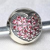 al por mayor auténtico pandora murano-Auténtico 925 Pink pavimentan el corazón del encanto del grano clip con Circonita adapta Europea Pandora Jewelry Pulseras Collares