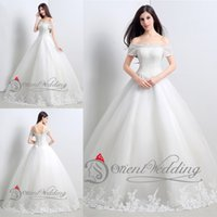 Wholesale 2015 Hot Sale Real Picture Cap Short Sleeves Beaded Tulle with Appliques Wedding Dress Bridal Gown In Stock