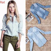 gradient denim shirt - Women Shirts Spring Autumn Casual Blouses Long Sleeve Washed Blue Denim Tops Cotton Slim Jeans Shirt Casual Coats Women Clothing SV005166