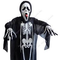 halloween skeleton - 2015 New arrival Adult Unisex Gauze Halloween Costume Skeleton Skull Clothes Dress For Costume Ball Dress up SV009931