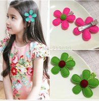 Wholesale 20pcs Beautiful flower hair accessories for baby girls Fabrics sun flower hair barrettes hair bands with bird charms cute hair clips