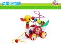 baby wood ducks - Wooden Toy Mini Around Beads Wire Maze Cute Duck trailer truck Children Baby Educational Game in Multi color Developmental Toy birthday gift