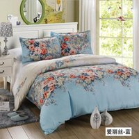 Wholesale Satin Sheet Set Free Shipping - Wholesale-Free shipping Hot 4pcs bed set satin jacquard home textile bedding sets Flower bed sheet linen duvet cover pillowcase queen king