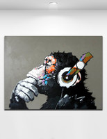 art thinking - Hand Painted Abstract Animal Gorilla Wearing Earplugs Oil Painting on Canvas Thinking Orangutan Wall Art Home Living Bedroom Decoration