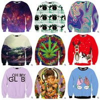 Wholesale 59 Colors leaf Sweatshirts Women Men Space print Galaxy Sweatshirts Printed hoodies animal D Sweatshirt Tops T Shirt LJJH518