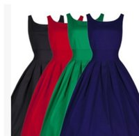 Wholesale 2015 Cheapest Women Elegant Casual Dresses Scoop Sleeveless Retro Midi Party Dress Robe Plus Size Women Causal Gown