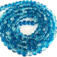 strands of glass beads - BSI Two Strands Of Tone Crackle Glass Round Beads Blue Clear mm Jewelry Making