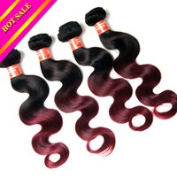 Wholesale 6A Ombre Peruvian Hair Weave inch to inch ombre color B purple black blonde virgin human hair weft Mix length bundles body wave hair