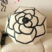Wholesale Fully Automatic Three Folding Umbrella For Men And Women Small fragrant camellia series umbrella gift box and umbrella TY137