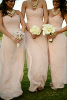 Cheap Sweetheart Bridesmaid Dresses 2015 Floor Length A-Line Chiffon Sleeveless Evening Gowns Ruched Prom Dresses 2014 LAN036