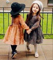Nouvelle filles vêtements France-2016 Spring Nouveaux Designs pour enfants Fille Vêtements dentelle Robes enfants Parti manches longues robe de princesse Une Ligne Bébé Robes Âge 2T-8T