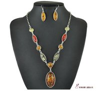 Wholesale Tibet Silver Amber Oval Multicolor Bib Necklace Pendant Earring Sets