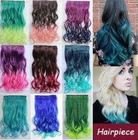 Wholesale Long Wavy Curl Clip in Hair Extensions Ombre Rainbow color Women Sexy Synthetic Clip In hairpiece Christmas party gift