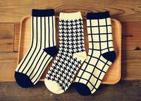 bar football tables - brand new Korean winter Men s cotton vertical bar socks preppy style Stripe ship socks men grid black stripes colors