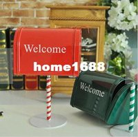 metal mailbox - New arrival Metal Mailbox Decoration Desktop Postbox Photo props Creative Home Deocoration Colors Hot Selling M1210