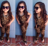 Wholesale 2015 New Baby girls leopard print sleeveless playsuit Jumpsuit for summer European and American retro children girl outfits clothing sets