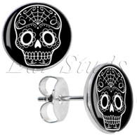 sugar white sugar - Surgical Steel Black White Sugar Skull Ear Stud Earrings Fake Plugs Sizes mm g ZCST