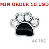 dog charms - CRYSTAL SILVER DOG PAW Floating charms for memory locket hot sell