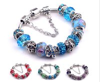 wholesale dora - Mix colors Big Hole Crystal Glass Bracelets Beads for jewelry making Women Silver European Beads fits Pan dora bracelets BA42