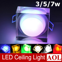 Wholesale Square Crystal Ceiling Lamp - Square Colorful High power 5W 6W 7W LED acrylic crystal ceiling lamps AC85-265V aisle lights porch lamp wall lamp for House Lighting