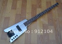 6 string bass guitar - HOT selling HEADLESS ELECTRIC BASS sliver white COLOR BASS GUITAR