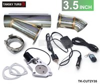 Wholesale TANSKY quot Elextric Exhaust Dump Cutout Y Pipe E Cut out W Switch Bypass Valve system Kit Remote TK CUT2Y35