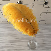 Wholesale Golden Yellow Natural Ostrich Feathers inch cm cm DIY Decoration High Quality Wedding Festival Table Decoration