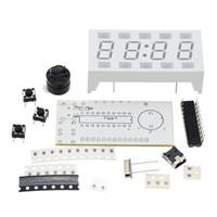 Wholesale New Simple digit DIY Digital LED Clock Kit White Desktop Electronic Mini Clock With White Case Green LED Digital Display