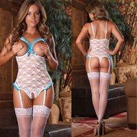 bras plus size lingerie - womens Sexy Lingerie Open Bra Crotchless Sleepwear Nightwear Garter underwear Plus Size
