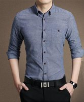 Wholesale 2015 New Mens Shirts Casual Slim Fit Stylish Mens Long Sleeve Dress Classic Embroidery Deer Shirts