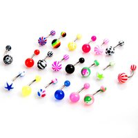 aqua barbells - 20PCS Set Ball Barbell Curved Navel Belly Button Ring Bar Body Piercing Jewelry