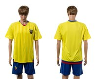 Wholesale 2016 Euro Ecuador Home Soccer Kits Yellow Soccer Jersey Blue Short Uniforms Brand new with logo tags able custom name number