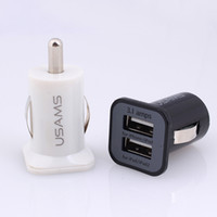 Wholesale USAMS USB A Dual USB Ports mini Car Charging Power Adapter portabl Universal for iPhone s s Samsung S7 S7 edeg HTC