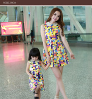 Wholesale Family Clothing Mother And Daughter Dress Flower Print Dress Family matching clothing Baby Girl Dress Women Clothing