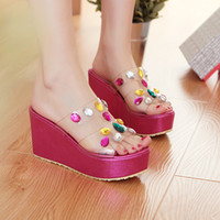 Cheap Chunky Heel Crystal Beading Wedge High Heel Women Sandals Rhinestones Flip Flops Lady Sandals Summer Plus Size 34-42 SXQ0514
