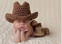 baby cowboy costumes - Handmade Crochet Baby Cowboy Hats and Boots set Costumes dallas Cowboys Hat Newborn Photography Props Outfits Accessories