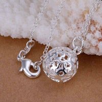 solid gold jewelry - P174 Silver fashion jewelry Necklace pendants Chains sterling silver necklace Small solid ball avfo bpvb