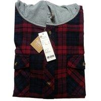 achat en gros de vestes de flanelle de gros-Gros-2016 hommes chemise de flanelle à carreaux Casual capuche hommes de coton à carreaux des chemises de flanelle rouge chemise à carreaux noir veste d'automne (N-701)